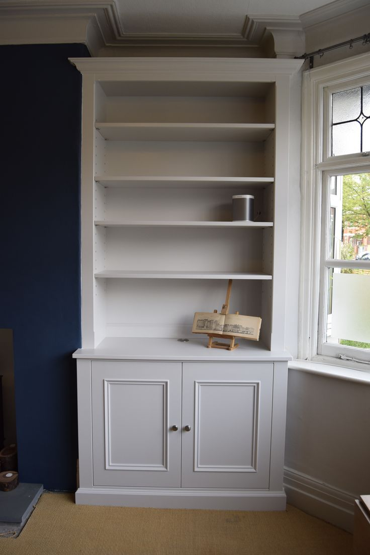 Built in Furniture- Custom made Alcove Cabinet with adjustable shelves. F&B Ammonite colour match. Bespoke furniture by Cabinet Maker 'Gill Martinez'. www.gillmartinez.com