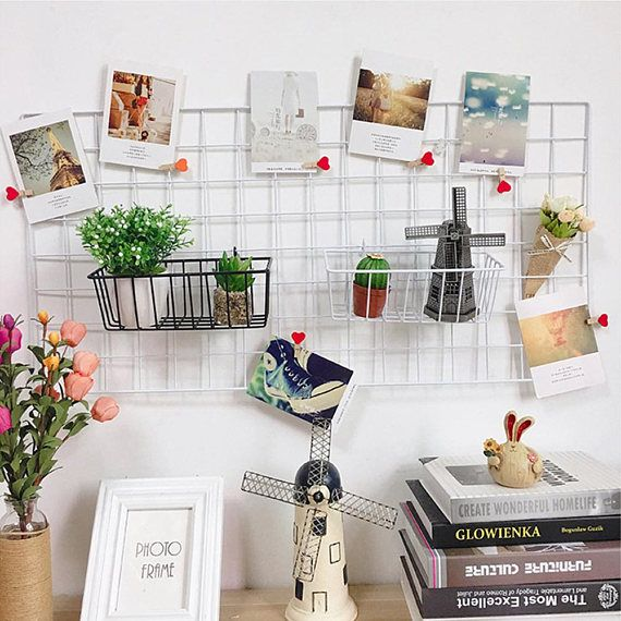 3 Sets Of Grid Photo Wall Wire Mesh Display Panel Decorative Iron Rack Photograph Hanging Picture Wall Decor Storage Wire Grid Wall Art Display Panels
