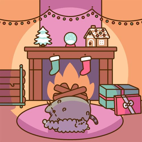curled up by the fire at Christmas ~ Pusheen the Cat & little sister Stormy the Kitten [GIF]