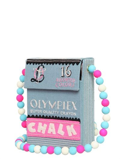 OLYMPIA LE-TAN - CHALK BOX HAND EMBROIDERED SHOULDER BAG - LUISAVIAROMA - LUXURY SHOPPING WORLDWIDE SHIPPING - FLORENCE