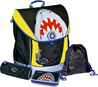 Die Spiegelburg Schulranzen-Set 4-tlg Ergo Style Fun fluor. Shark Attack shark attack