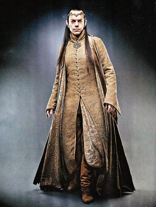 Hugo Weaving as Elrond in the Hobbit. Elves have costumes that emphasize verticality. It looks like he's wearing at least three layers. Also, there's something distinctly Chinese about Elven costumes in the LotR and Hobbit Movies.