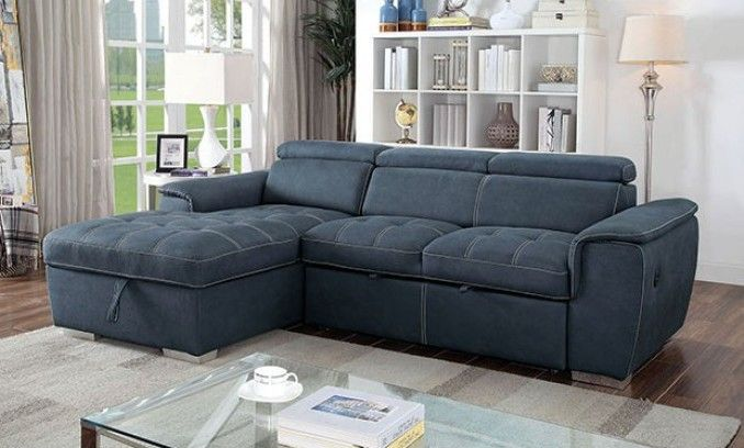 Best Cm6514Bl 2 Pc Patty Blue Fabric Sectional Sofa Set With 400 x 300