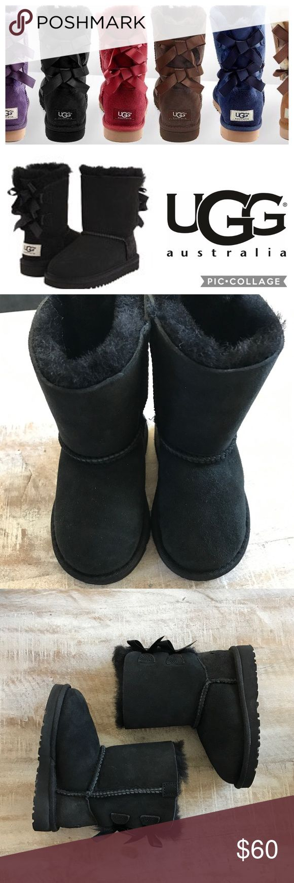 ❄️KIDS!! UGG Toddler's Bailey Bow Boot/Blk/sz 8 Keep your little one's feet warm this season with the Bailey Bow Boot from UGG! Two fixed bows enhance the sweetness of this iconic style. A light, flexible outsole and plush Twinface sheepskin keep feet cozy. Twinface and suede UGGpure™ wool insole EVA outsole.                                                                          This pair is a dept store closeout/customer return. Looks brand new and perfect! No box. 🚫no trades, Low offers…
