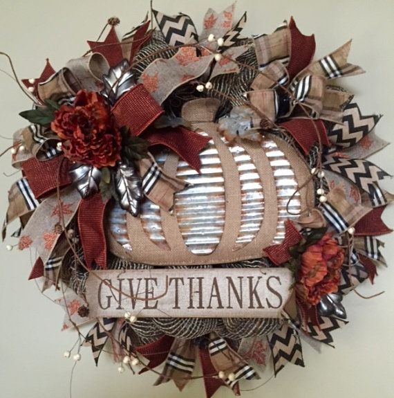 Give Thanks Burlap Deco Mesh Wreath Metal Pumpkin by WreathyWoman