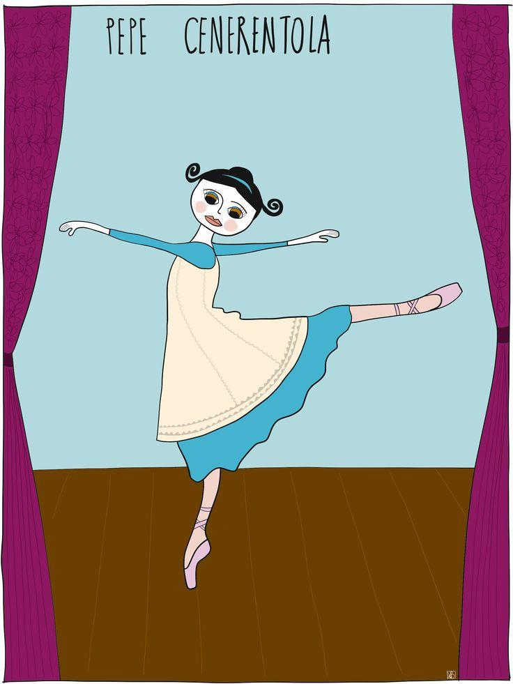 Illustration of Pepe #cinderella #dancevariation by Monica Brini