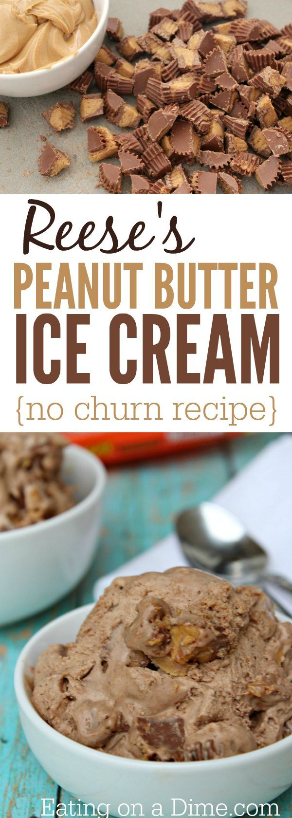 Reese's Peanut Butter Ice cream recipe - This reese's ice cream is delicious and easy to make because it is a no churn ice cream recipe.