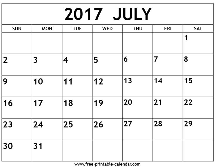 Large Printable July CalendarPrintablePrintable Coloring Pages