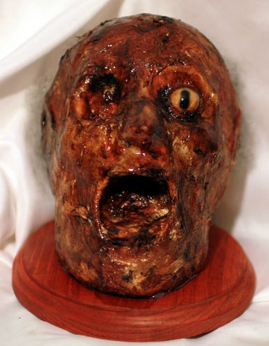 corpse head prop deluxe halloween mummified head prop features a glass eye heavy - Very Scary Halloween Decorations