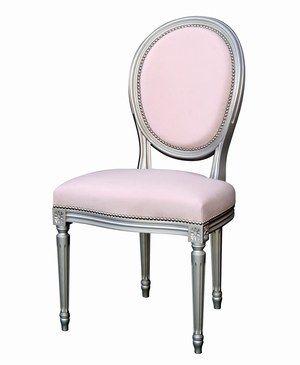 chaise louis XVI rose pastel et cadre gris argent