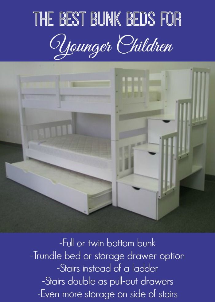 If you're looking for bunk beds for younger children, these are your best bet. We have my one-year-old and three-year-old in these and they are perfect. Not as high as typical bunk beds, plus they feature stairs (that double as drawers) instead of a ladder.