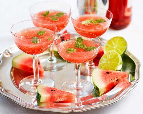 Campari soda med vattenmelon, lime och mynta