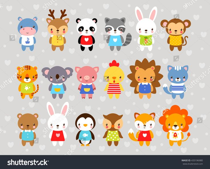 Set of vector animals in <b>cartoon style</b>. <b>Cute</b> animals on a gray ...