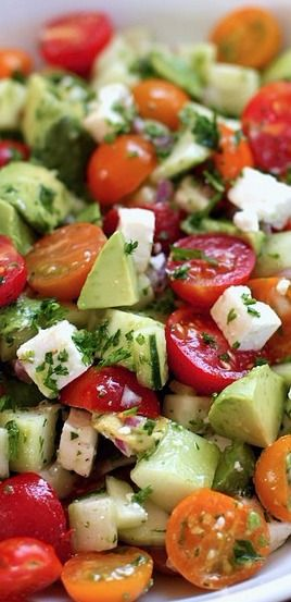 Tomato, cucumber, avocado salad - Green Valley Kitchen