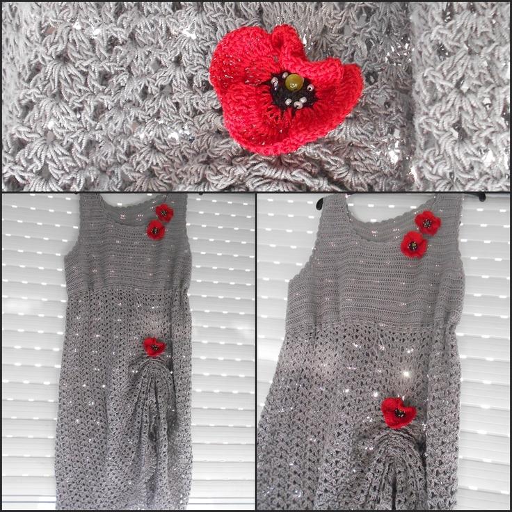 Rochie crosetata cu maci (250 LEI la aidaalex.breslo.ro)