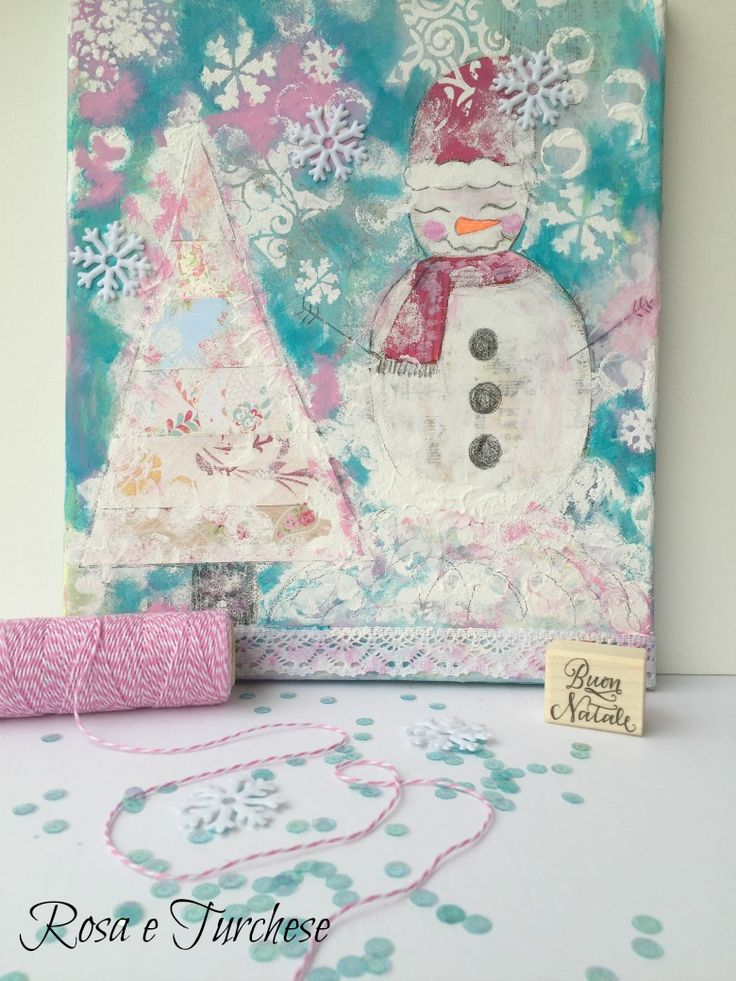 Rosa e Turchese: White Christmas Together - Quadro natalizio