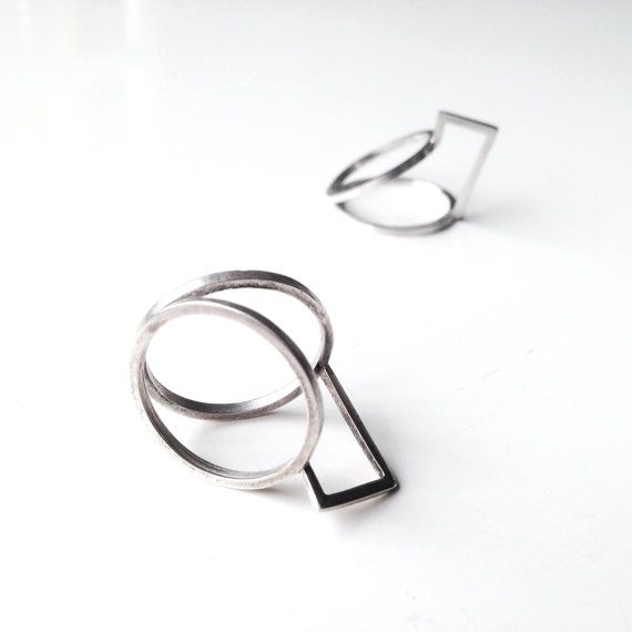 Unique geometrical ring in silver by LauraEssayie on Etsy