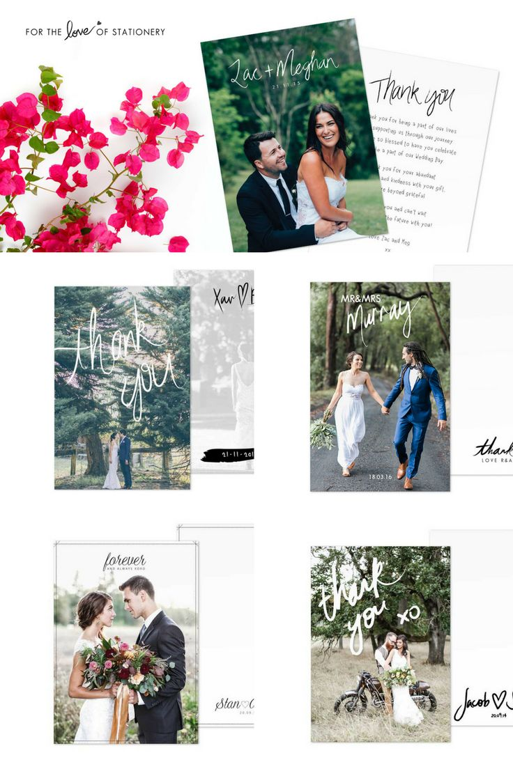 Wedding Thank You Cards with Photos - These photo cards are absolutely gorgeous to send to your guests after your special day!