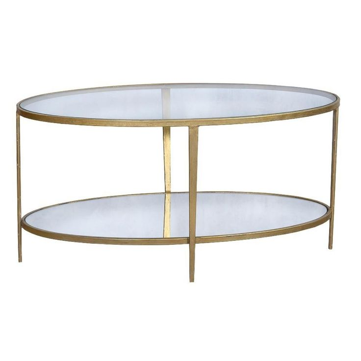 Gin Shu Parisienne Gold Effect Oval Metal Round Glass Coffee Table