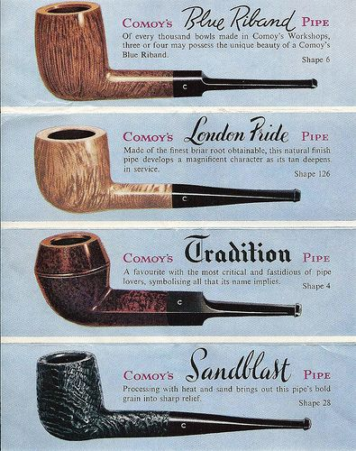 Vintage Ad for Comoy's of London Briar Tobacco Pipes, Made in England