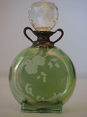Vtg ITALY Silver 800 Green Cut Glass Crystal 2 Handles Amphora Perfume Bottle