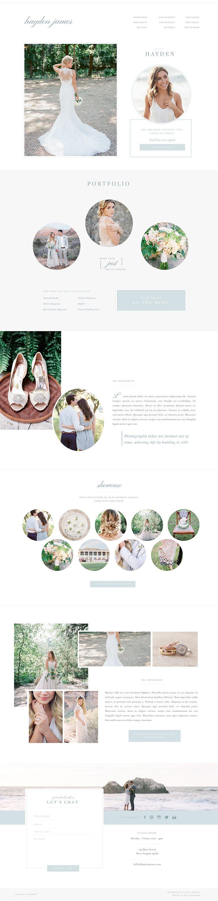 Hayden Showit 5 Website Template Design.   Romantic, Coastal, Beautiful, Airy, Light
