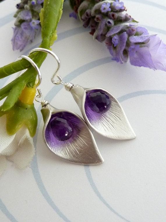 Custom Stone  Calla Lily Flower AAA Purple by JCGemsJewelry, $28.95