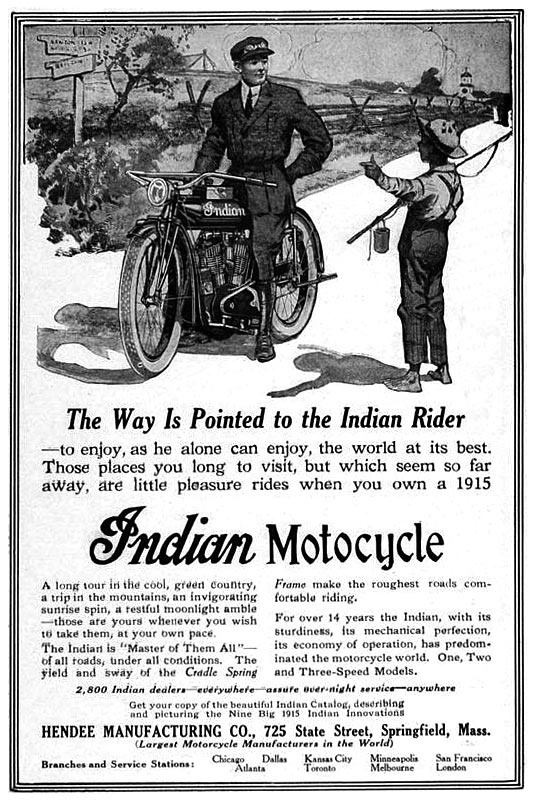1912 - Indian was the largest motorcycle manufacturer in the world with 1200 dealers in the US alone. 1 in 3 bikes on the road were Indians - Wow!