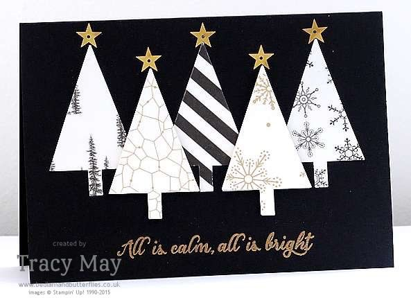 Stampin' Up! Winter Wonderland Desinger Vellum Tree Punch Gold Star Metallics Sequin Assortment Tracy May