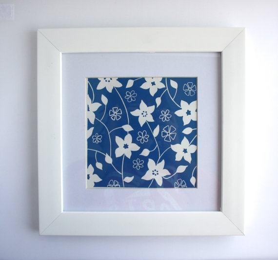 Linocut Print Wall Art Blue Floral Lino Print by PrintsandStitch, £7.50