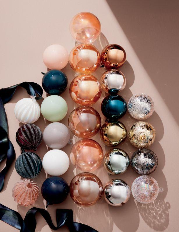 Metallic Glass Textured Ornaments Set Of 4 Ornament Set Modern Christmas Ornaments Pastel Christmas Decor