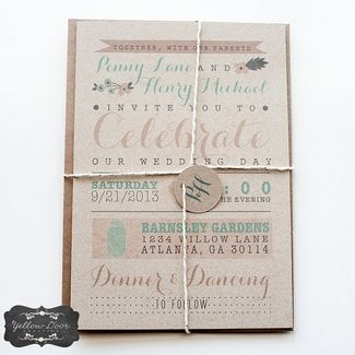 18 Rustic Wedding Invitations {Trendy Tuesday} | Confetti Daydreams - Modern, yet rustic wedding invite with fanciful calligraphy on Kraft paper ♥  ♥  ♥ LIKE US ON FB: www.facebook.com/confettidaydreams ♥  ♥  ♥ #Wedding #Invites #invitations #RusticWedding