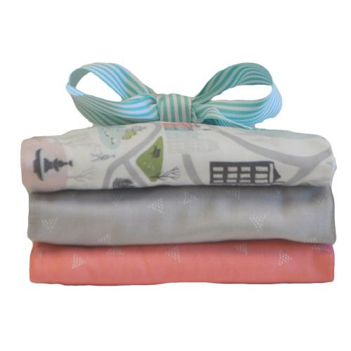 Burp Cloth Set   Coral In the City Baby Bedding Set
