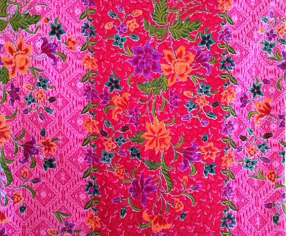 Red & pink design floral batik on etsy