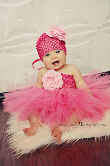 Layla Grace Hot Pink Silk French Rose Baby Crochet Tutu Dress