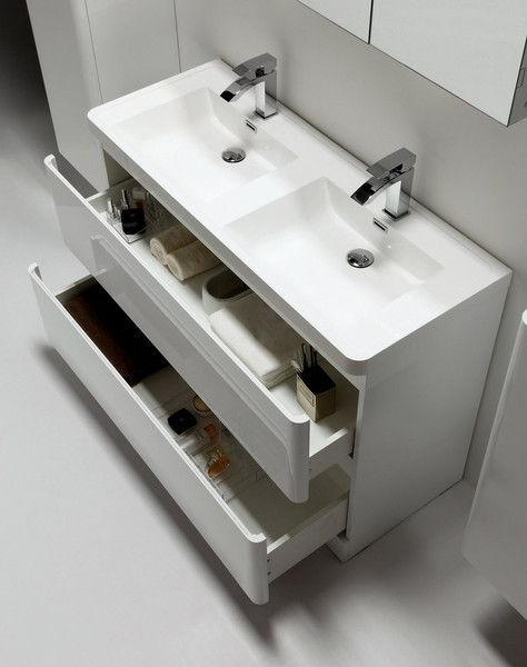 Tona 48 narrow gloss white modern bathroom vanity double - Narrow bathroom sinks and vanities ...