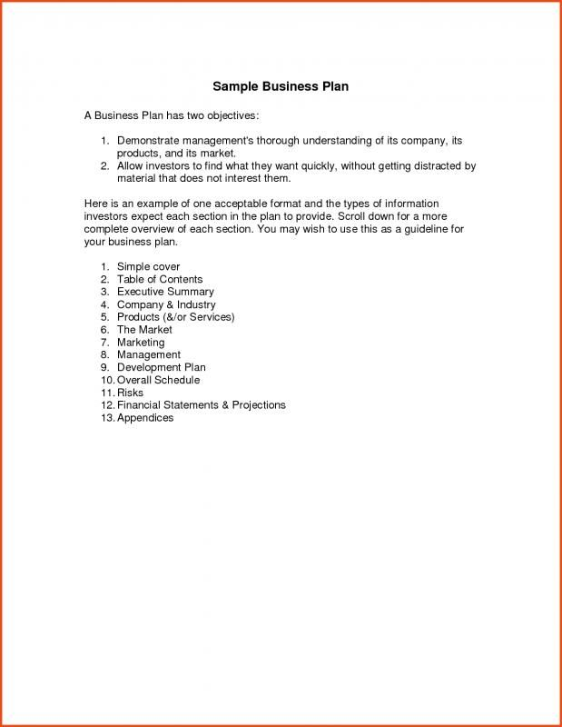 example very simple business plan