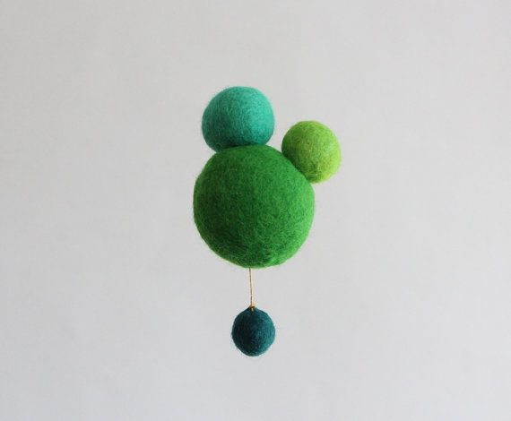 Retro green, lime and turquoise wool felt brooch - Green Atomic