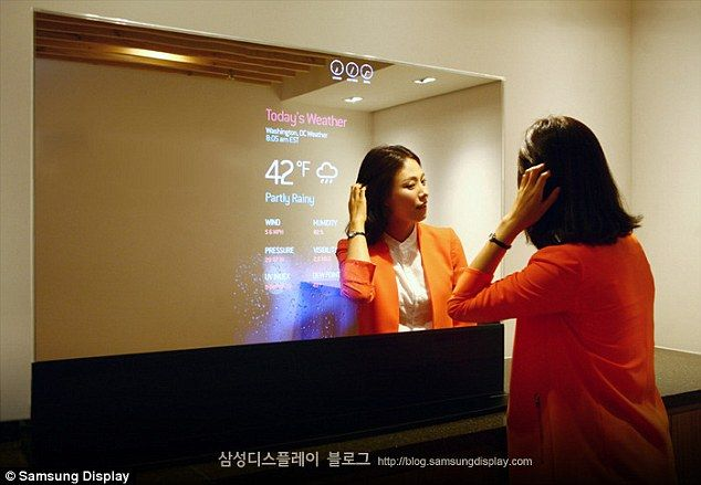 Samsung's smart MIRROR shows weather, traffic information and even Facebook notifications as you brush your teeth [Futuristic Mirrors: http://futuristicnews.com/tag/mirror/]