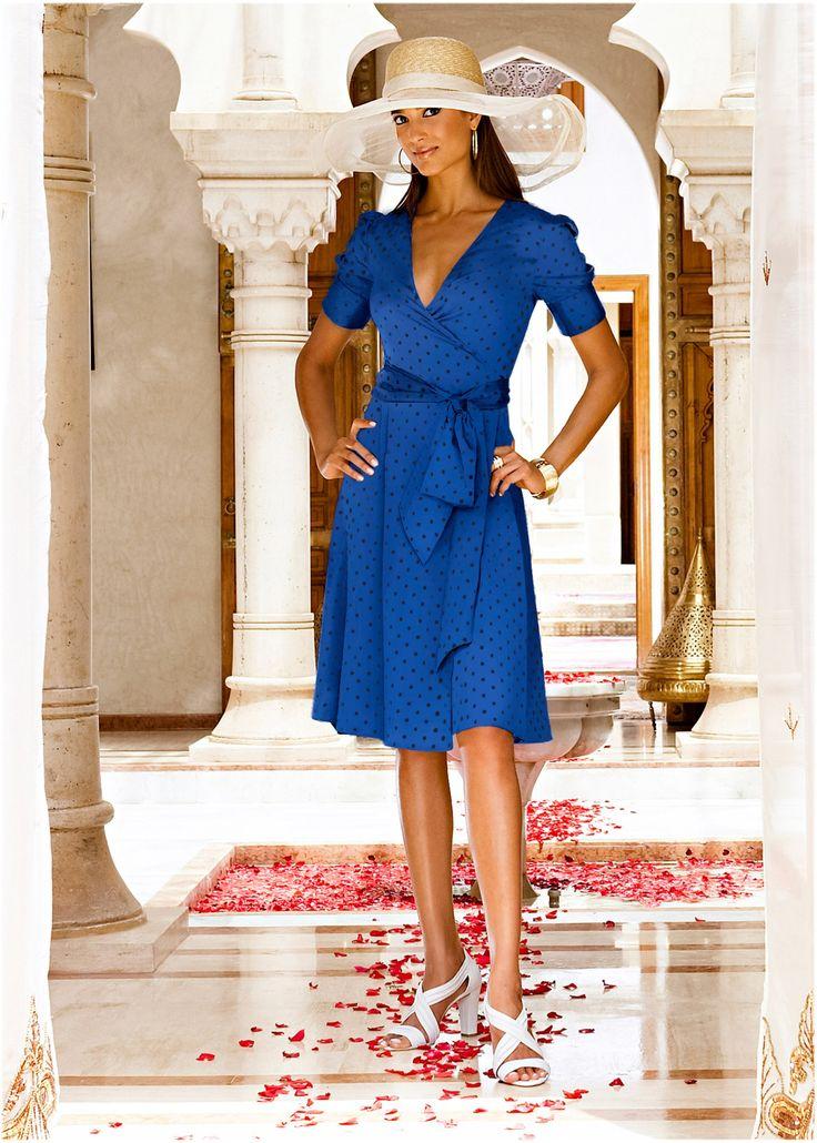 Vestido de bolinhas azul/marinho bolinhas encomendar agora na loja on-line bonprix.de  R$ 159,90 a partir de Pura feminilidade! Lindo vestido de malha de ...