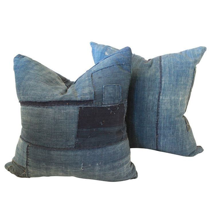 Antique Japanese patched boro pillows {pair}