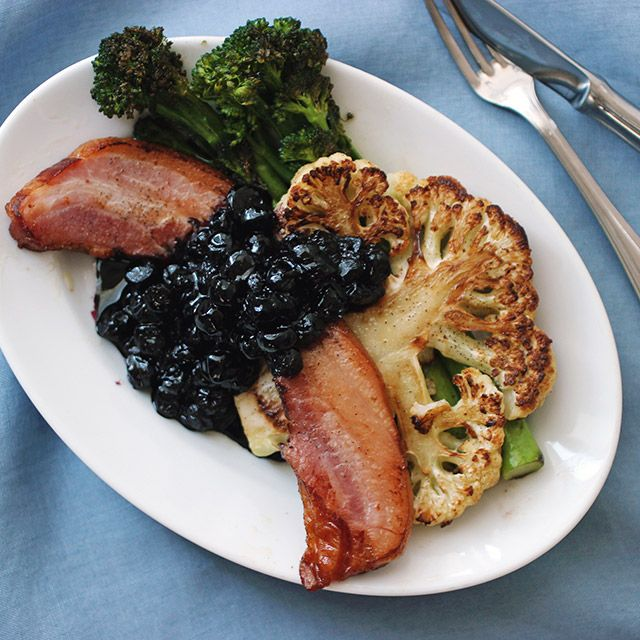 Bacon Steak with Blueberry Sauce