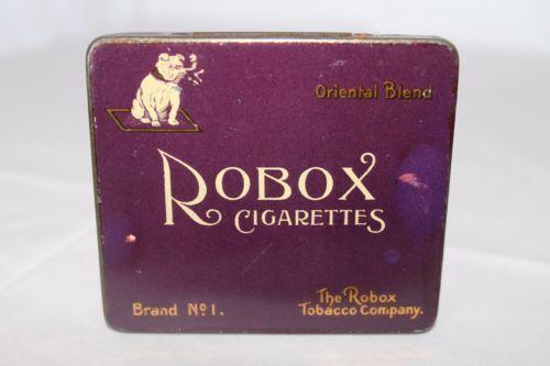Rare-1920-039-s-Dutch-Robox-Cigarettes-Tin-Bulldog-Image