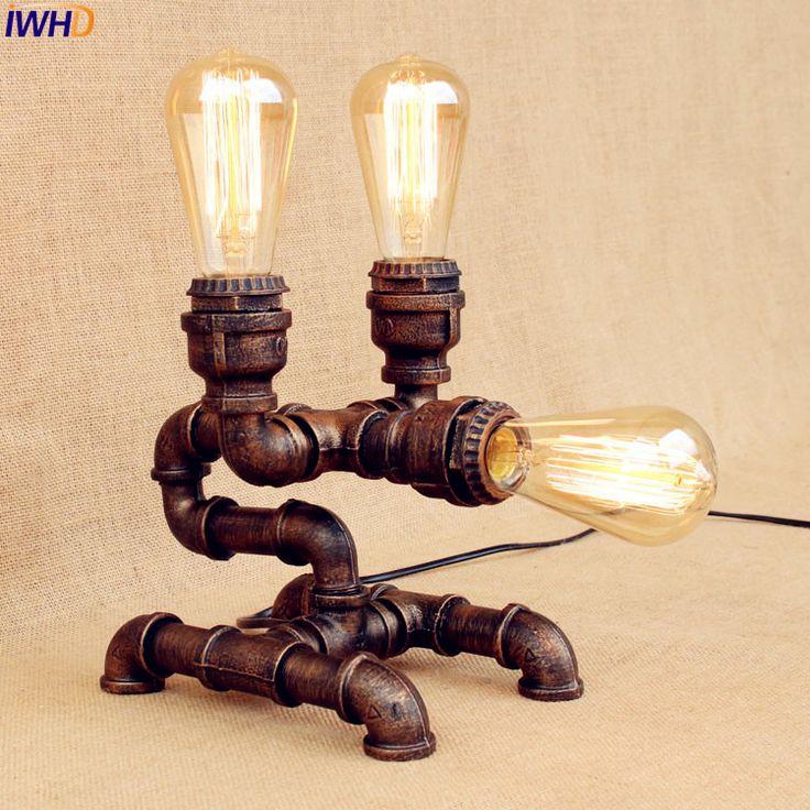 IWHD Water Pipe Industrial Table Lamp LED Edison Bar Coffe Creative Loft Vintage Table Lamps Lampara Luminaria De Mesa #Affiliate