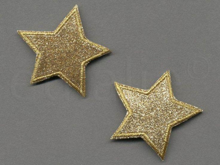 applicatie glitter gouden sterren 5 cm