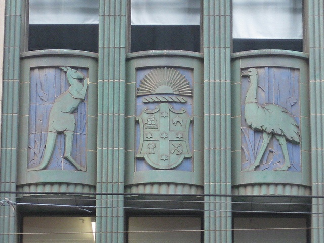 Kangaroo, Melbourne Coat of Arms and Emu Detail of the Australian Natives Association Building - Elizabeth Street, Melbourne by raaen99, via Flickr