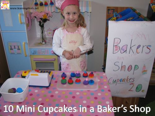 Great ideas for setting up an imaginative play Baker's Shop - 10 Currant Buns in a Baker's Shop {learning4kids}
