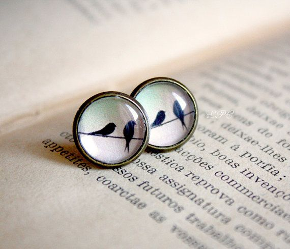 Birds on Wire Stud Earrings - Delicate Everyday Jewelry - Gift for her under 20usd PRE-ORDER on Etsy, $14.00