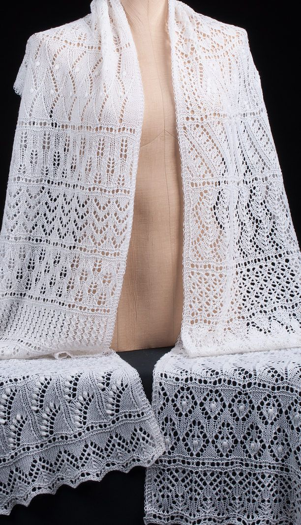Free Knitting Pattern for Advent Calendar Scarf - Lace scarf with 24 different patterns, one for each day from 1st of December until Christmas.by Kristin Benecken. Pictured project by GBayfan