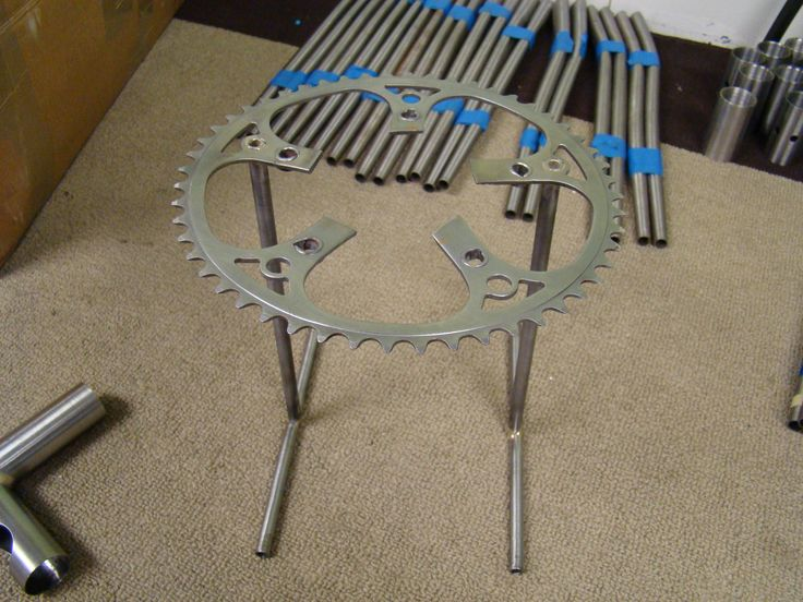 DIY pour over coffee stand made with a bicycle chainring